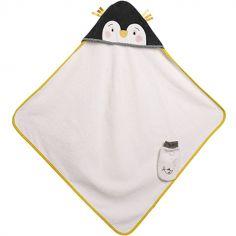 Cape de bain + gant pingouin Les Nanouks (80 x 80 cm)