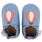 Chaussons en cuir Soft soles bleu montgolfière (3-9 mois) - Bobux