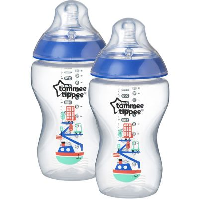 Lot de 2 biberons Closer to nature décoré bleu (340 ml)  par Tommee Tippee