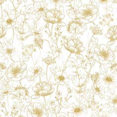 Papier peint motif fleurs gold (10 m)
