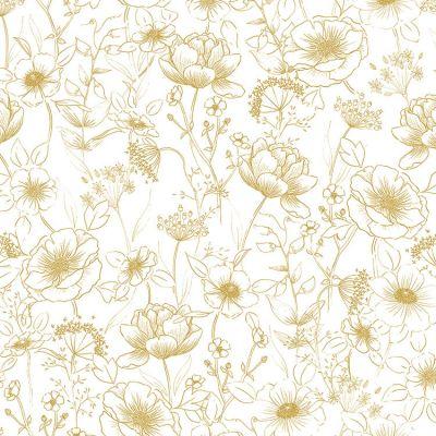 Papier peint motif fleurs gold (10 m)  par Lilipinso