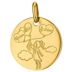 Médaille ronde Maman Chérie 16 mm (or jaune 750°)