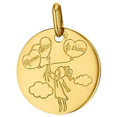 Médaille ronde Maman Chérie 16 mm (or jaune 750°)  par Premiers Bijoux