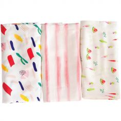 Lot de 3 maxi langes Matisse (120 x 120 cm)
