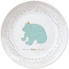 Assiette en porcelaine Ours bleu (personnalisable)