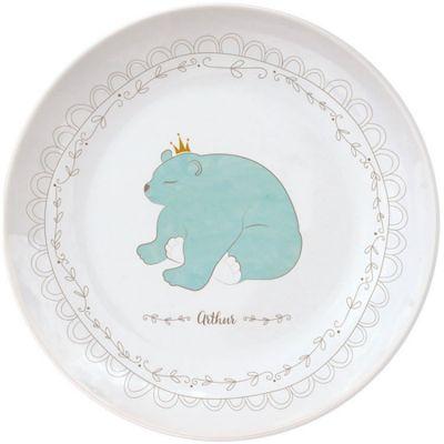 Assiette en porcelaine Ours bleu (personnalisable)  par Gaëlle Duval