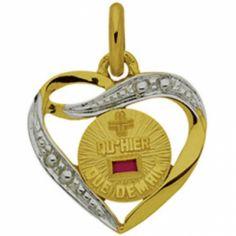 Médaille forme coeur d'Amour 15 mm ajourée (or jaune 750° et rubis)