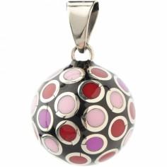 Bola noir cercles roses