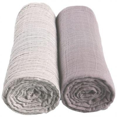 Lot de 2 maxi langes gris Mix & match (100 x 100 cm)  par Noukie's