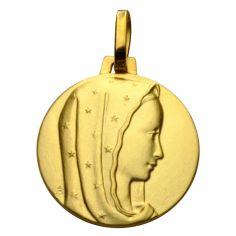 Médaille ronde Vierge au voile étoilé 16 mm (or jaune 750°)
