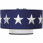 Abat-jour bleu marine Stars silver (diamètre 35 cm) - Taftan