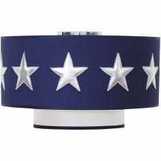 Abat-jour bleu marine Stars silver (diamètre 35 cm)