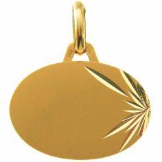 Médaille ovale étoile facettée (or jaune 750°)