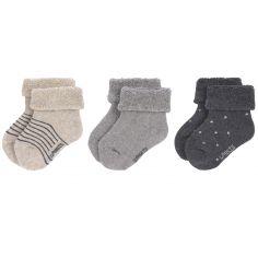 Lot de 3 paires de chaussettes bébé en coton bio gris (pointure 12-14)