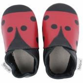 Chaussons en cuir Soft soles rouge et noir (9-15 mois) - Bobux
