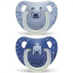 Lot de 2 sucettes physiologiques Night & Day Ourson bleu en silicone (6-18 mois)