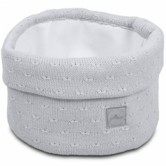 Panier de toilette en tricot doux gris (13 x 15 cm)