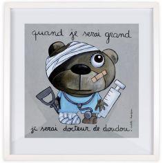 Affiche encadrée Quand je serai grand je serai docteur de doudou (30 x 30 cm)