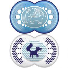 Lot de 2 sucettes anatomiques Original éléphant et renard en silicone (18 mois et +)
