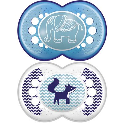 Lot de 2 sucettes anatomiques Original éléphant et renard en silicone (18 mois et +)  par MAM