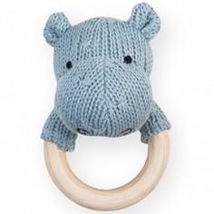 Hochet anneau en bois hippopotame bleu