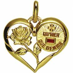 Médaille forme coeur d'Amour 18 mm ajourée (or jaune 750° et rubis)