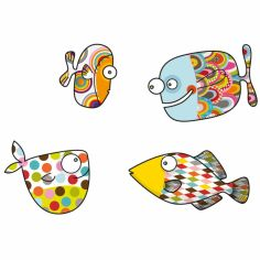 Stickers muraux 4 gros poissons