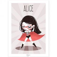 Affiche A4 Super-héroïne (personnalisable)