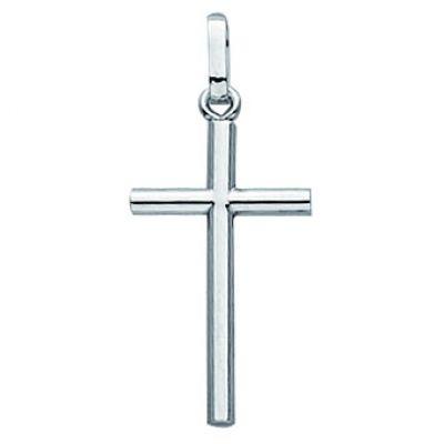 Pendentif Croix Fil Rond (or blanc 750°)  par Berceau magique bijoux