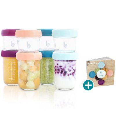 Lot de 8 pots de conservation en verre Babybols + livret de recettes  par Babymoov
