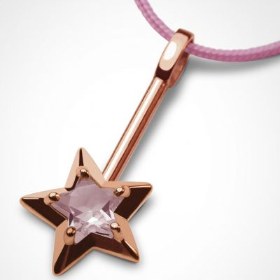 Collier cordon 'Abracadabra' Quartz rose (or rose 750°)  par Mikado