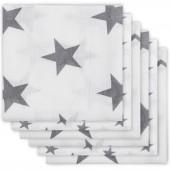 Lot de 6 langes hydrophiles Little star étoile gris anthracite (70 x 70 cm) - Jollein