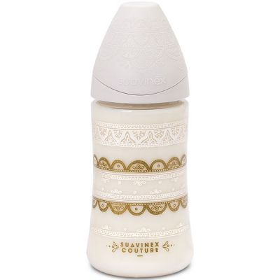 Biberon Couture Ethnic 3 vitesses blanc et doré (270 ml)  par Suavinex