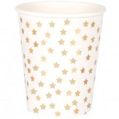 Lot de 8 gobelets en carton étoiles dorées