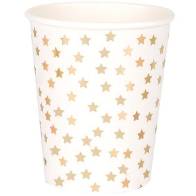 Lot de 8 gobelets en carton étoiles dorées  par My Little Day