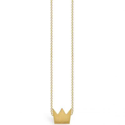 Collier chaîne 40 cm pendentif Full couronne 08 mm (vermeil doré)  par Coquine