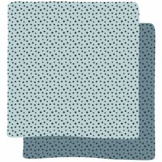 Lot de 2 maxi langes Happy Dots bleu (120 x 120 cm)