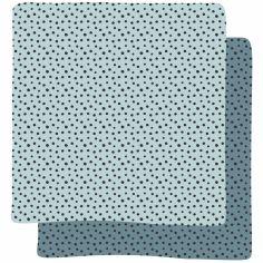 Lot de 2 maxi langes Happy Dots bleu (120 x 120 cm)