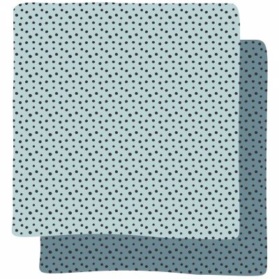 Lot de 2 maxi langes Happy Dots bleu (120 x 120 cm)  par Done by Deer