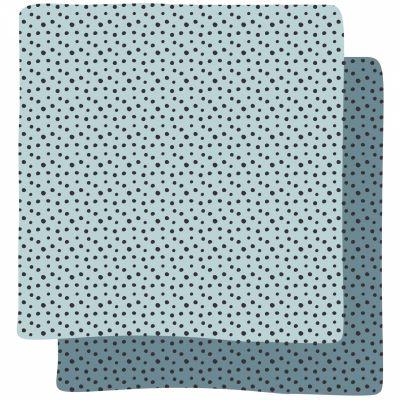 Lot de 2 maxi langes Happy Dots bleu (120 x 120 cm)  par Done by Deer