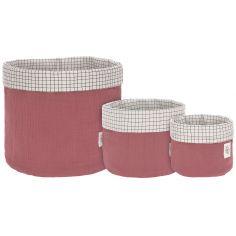 Lot de 3 paniers de toilette en mousseline bois rose