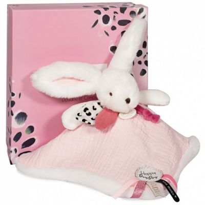 Doudou plat avec coffret lapin rose Happy Blush  par Doudou et Compagnie
