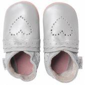 Chaussons bébé cuir Soft soles coeur pointillés argenté (3-9 mois) - Bobux