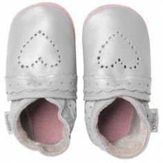 Chaussons bébé cuir Soft soles coeur pointillés argenté (3-9 mois)