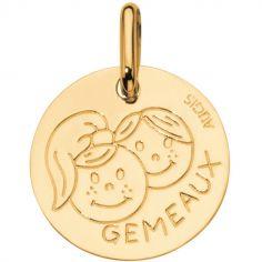 Médaille Zodiaque gémeaux 14 mm (or jaune 750°)