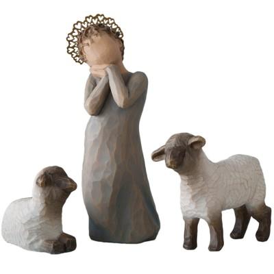 figurines la petite bergre et ses moutons pour crche de. Black Bedroom Furniture Sets. Home Design Ideas