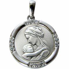 Médaille Vierge enfant tendresse 4 bords sertis (argent 925° et zirconium)