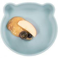 Assiette ventouse ourson bleu