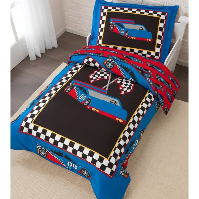 Set 4 pices taie d 39 oreiller couette drap plat drap for Housse de couette voiture de course