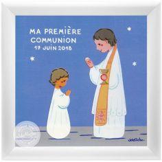 Tableau Souvenir de communion bleu personnalisable (15 x 15 cm)